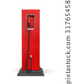 3d rendering of red gas pump in side view isolated 31765458