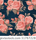 Pink roses floral seamless print on blue denim 31767228