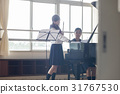 School girls practicing flutes 31767530