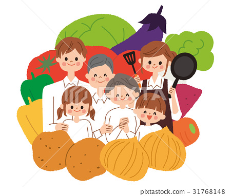 family, three generations, vegetables 31768148