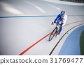 Racing cyclist on velodrome outdoor. 31769477