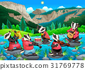 Group of funny badgers are playing music 31769778