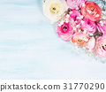 Beautiful flower frame bouquet on turquoise 31770290