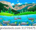 Mountain landscape with lake 31770475