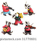 Group of funny badgers are playing music 31770601