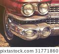 close up on old vintage car, front light 31771860