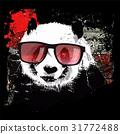 Cute panda on grunge background 31772488