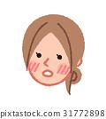 脸红的女人的对角脸 31772898