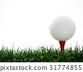 3D Rendering Golf ball with red tee in the grass 31774855
