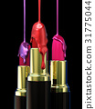 Red lipstick and multi-colored droplet nail polish 31775044