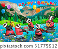 Happy Birthday card with badgers playing music 31775912