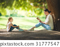 mom reading a book to her child 31777547