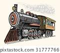engraved vintage, hand drawn, old locomotive or 31777766
