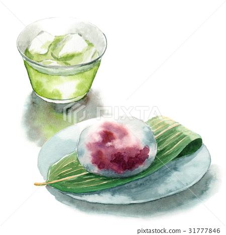 冷綠茶和水麵包 31777846