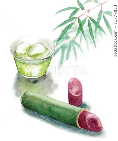 綠茶 水彩畫 軟赤豆果凍 31777853
