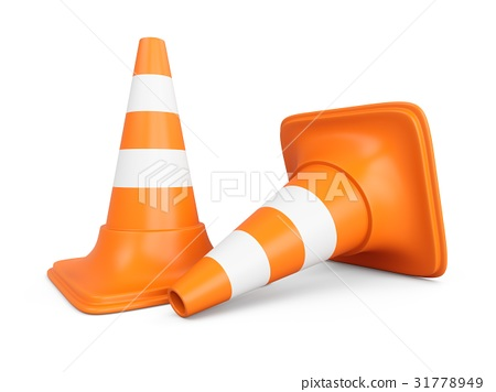 3D rendering traffic cones isolated on white 31778949