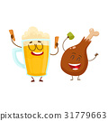 Funny beer mug and fried chicken leg characters 31779663