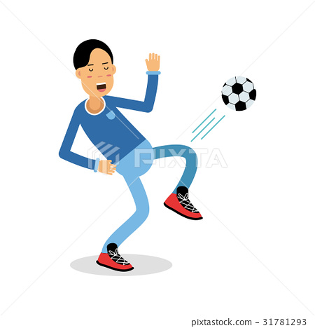 Active young boy kicking a soccer ball cartoon 31781293