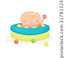 Cute cartoon baby playing in a pool with colorful 31781324