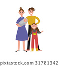 Parents with their two children cartoon characters 31781342