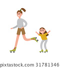 Smiling mother with her daughter roller skating 31781346