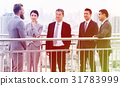Business people meeting and discussion on footbridge 31783999