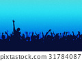silhouette people raise hand up in concert on blue 31784087