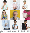 Collection of people saving money in piggy bank 31785115