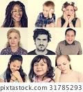 Diversity people set emotional on white background 31785293