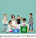 Diverse Group Of Kids Recycling Garbage 31786203