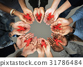 Group of hands holding red ribbon stop drugs and HIV/AIDS awareness 31786484