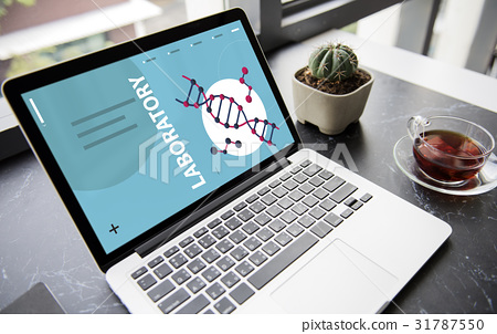 Dna strand genetics science graphic on a screen 31787550