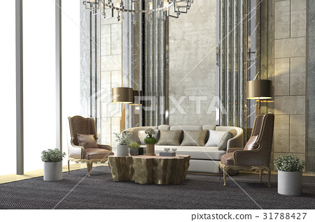 classic luxury living room with chandelier decor 31788427