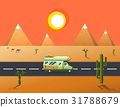 traveler truck driving on the road to desert  31788679