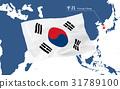 เกาหลีใต้,ธงชาติ,แผนที่โลก 31789100