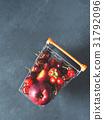 Fresh red fruit berries supermarket cart on black 31792096