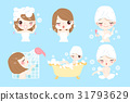 cartoon woman taking  bath 31793629