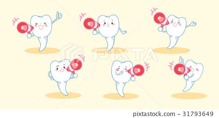 cartoon tooth take microphone 31793649