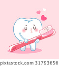 cartoon teeth and toothbrush 31793656