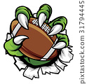 Monster animal claw holding American Football Ball 31794445