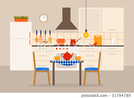 Vector kitchen interior with dining place 31794789