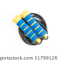Blue and yellow skipping rope, isolated on white  31799126