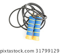 Blue and yellow skipping rope, isolated on white 31799129