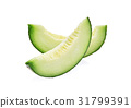 green melon isolated on white background 31799391