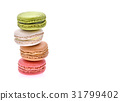 Macarons on white background 31799402