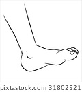 Foot Cartoon - Line Drawn Vector 31802521