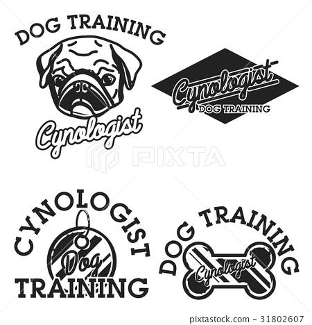Color vintage cynologist emblems 31802607