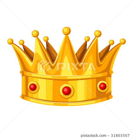 Realistic gold crown with red rubies. Illustration 31803507