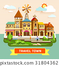 Vector Travel town vintage building 31804362