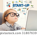 Startup concept with toddler girl 31807639